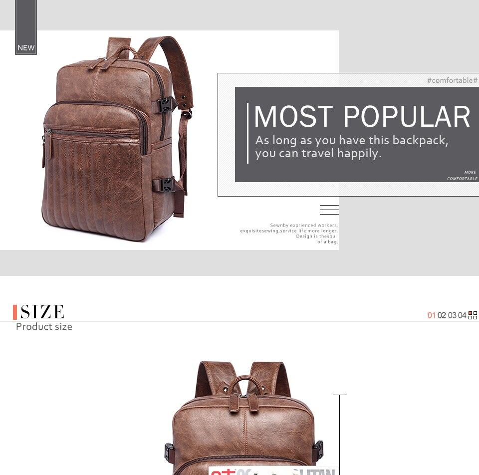 861c37926484 Preppy Style Men'S Backpack Vintage PU Leather Travel Bag Waterproof 14''  Laptop Man Backpacks Soft Handle School Bag For Male Bags Rucksack From ...