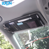 LOEN Black Beige Gray Leather Car Sun Visor Hanging Organizer Holder Pocket for Card Glasses Cellphone Pen With Parking Number
