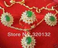 noblest plated jewelry beautiful green set plated Jewellery sets