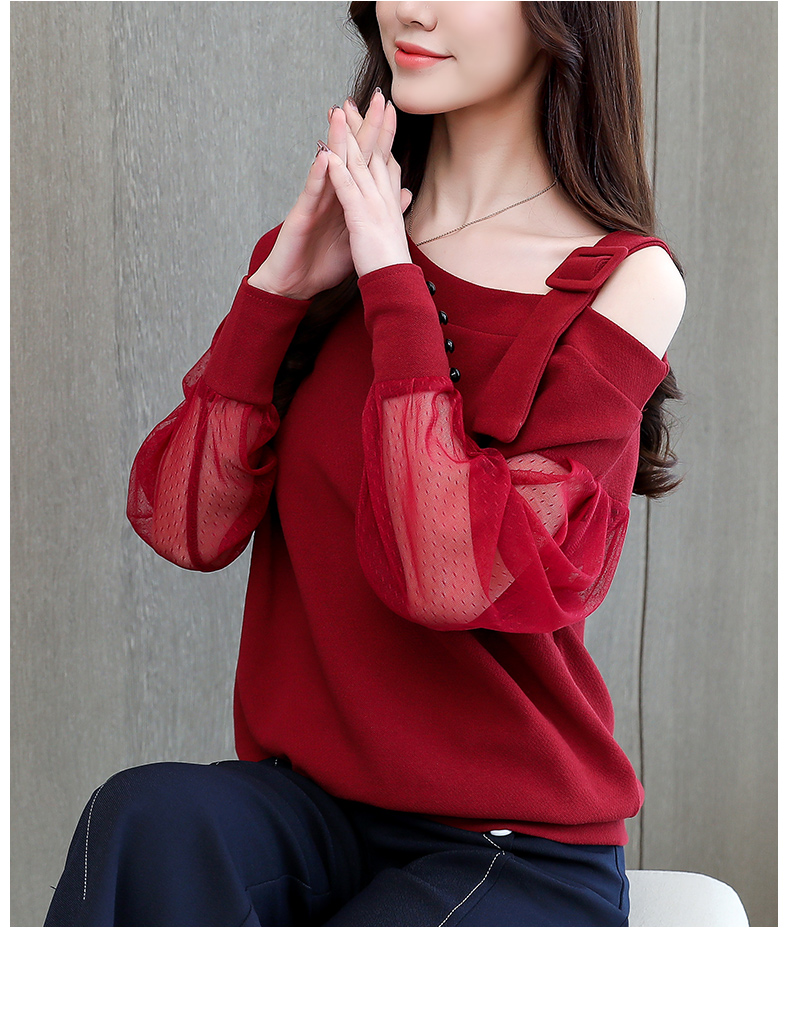 2019 Spring New Long Sleeve Shirt Women Fashion Woman Blouses Sexy Off Shoulder Top Solid Women Blouse Shirt Clothing Female (1)