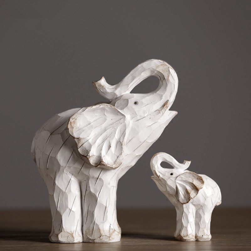 2 pcs lot retro elephant figurine ornaments creative vintage animal sculpture for modern home decors