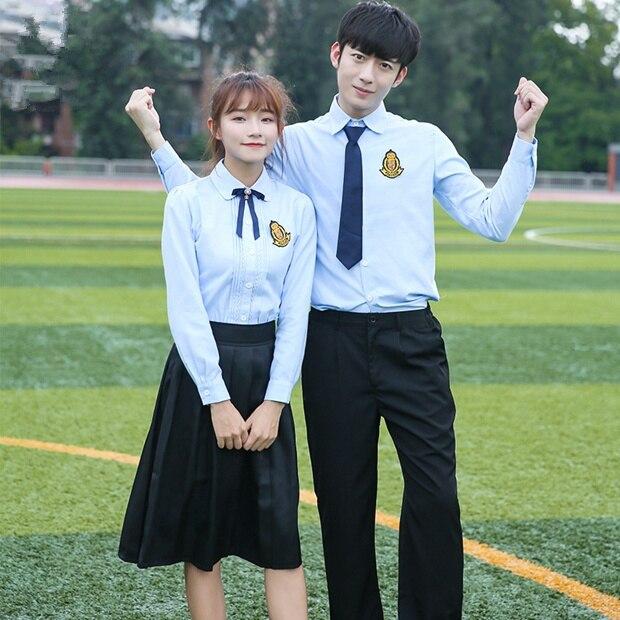 Uniformes scolaires coréens chemise blanche + jupe pour étudiants filles chemise + pantalon étudiants coréens garçons cosplay costume - 4