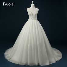Real High Quality Tulle Ball Gown Sweetheart Appliques Top Beaded Chapel Train Bridal Wedding Dress Vestido de Novia ASAFN47