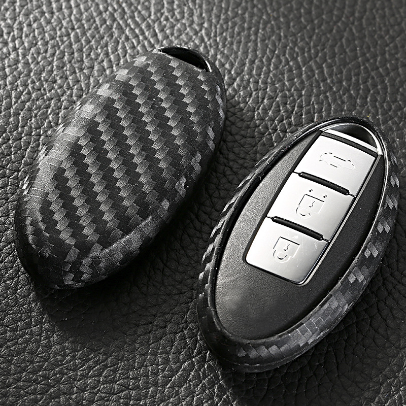 New Carbon fiber Silica gel Case Cover Car Key Wallet Cool Car key Keychain For Nissan Almera March Qashqai juke x-trail tiida
