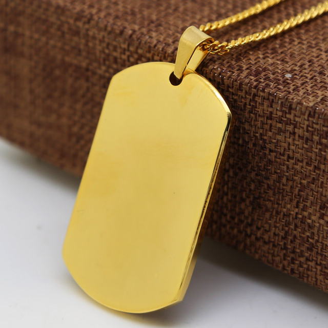 gold color RAMBO DOG TAG Necklace and men Cuban Chain Hiphop Golden