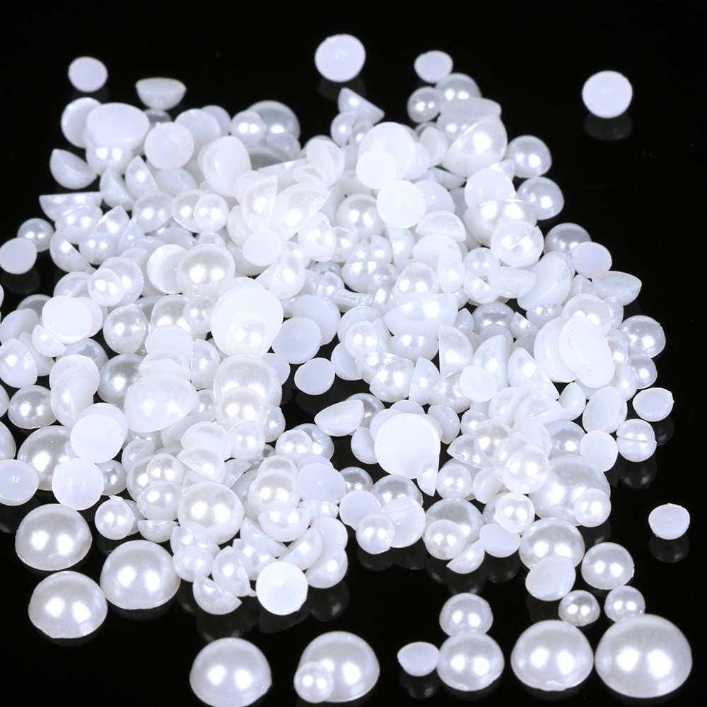 1000Pcs Mixed Size ABS Imitation Pearls Half Round Flatback Resin Pearls For DIY Craft Decoration Nail Art Supplies Garment Bead