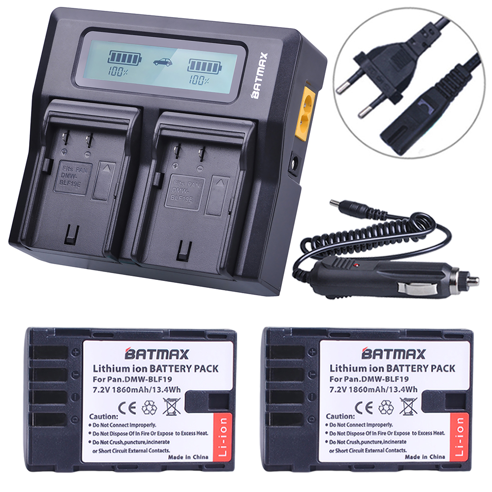 2Pcs 1860MaH DMW-BLF19 DMW-BLF19E DMW-BLF19PP BLF19 BLF19E Battery+ Fast LCD Dual Charger for Panasonic Lumix GH3 GH4 GH5 G9 цены
