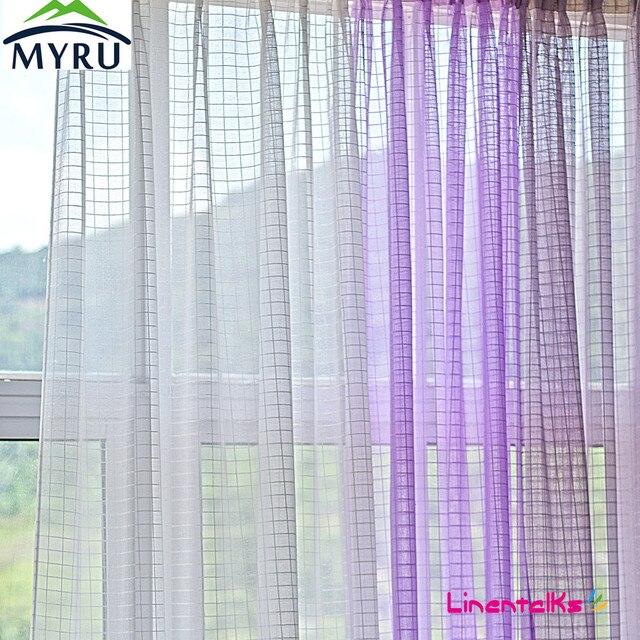MYRU 140*250cm Square Imitation Linen Sheer Curtains White Purple Voile  Curtains For Living Room