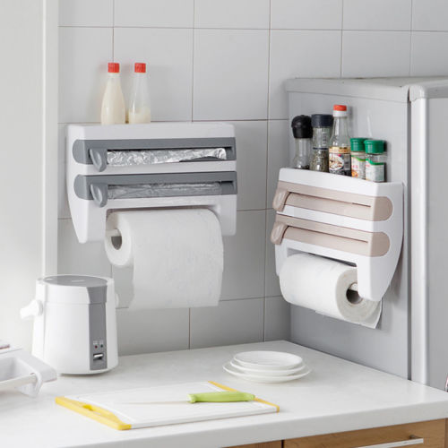 Wall Mounted Kitchen Rack Storage Holders Dispenser Foil Cling Film Towel Roll Holder Racks Container Organizer Closet