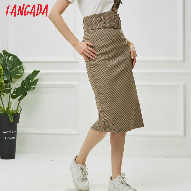 Tangada fashion women plaid skirt vintage work office ladies skirt with belt mujer retro mid calf skirts BE175 8