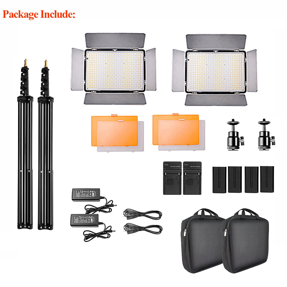 Image 2 - SAMTIAN 2Sets LED Video Light With Tripod Dimmable 3200 5500K 600 LEDs Panel Lamp For Studio Photo photography Lighting-in Photographic Lighting from Consumer Electronics