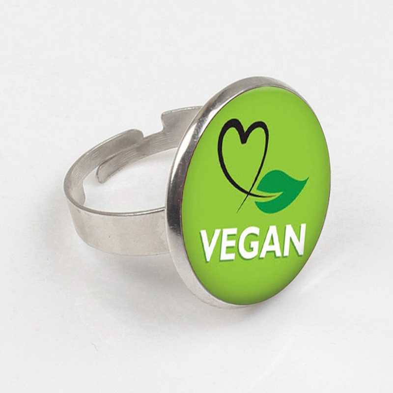GDRGYB 2019 Vegan diet Glass Cabochon ring vegetarian diet go organic Jewelry Multilayers Charms ring for Womens Mens