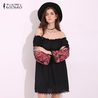 ZANZEA Women Mini Dress 2017 Summer Vintage Floral Embroidery Casual Loose Dress Sexy Slash Neck Flare