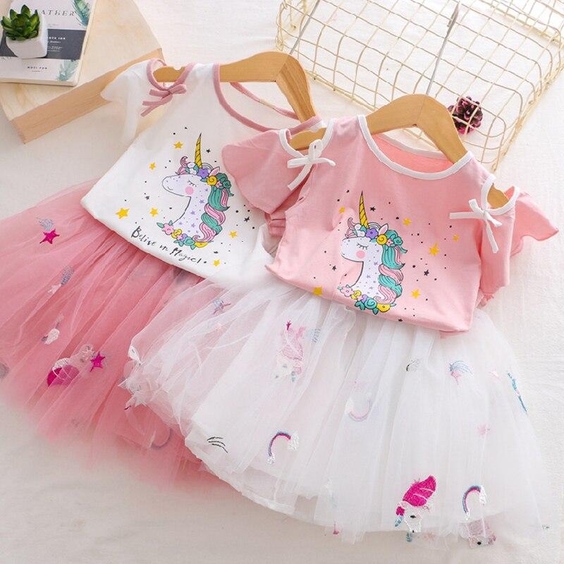 HTB10iCNRIfpK1RjSZFOq6y6nFXar Girls Clothing Sets 2019 Summer Princess Girl Bling Star Flamingo Top + Bling Star Dress 2pcs Set Children Clothing Dresses