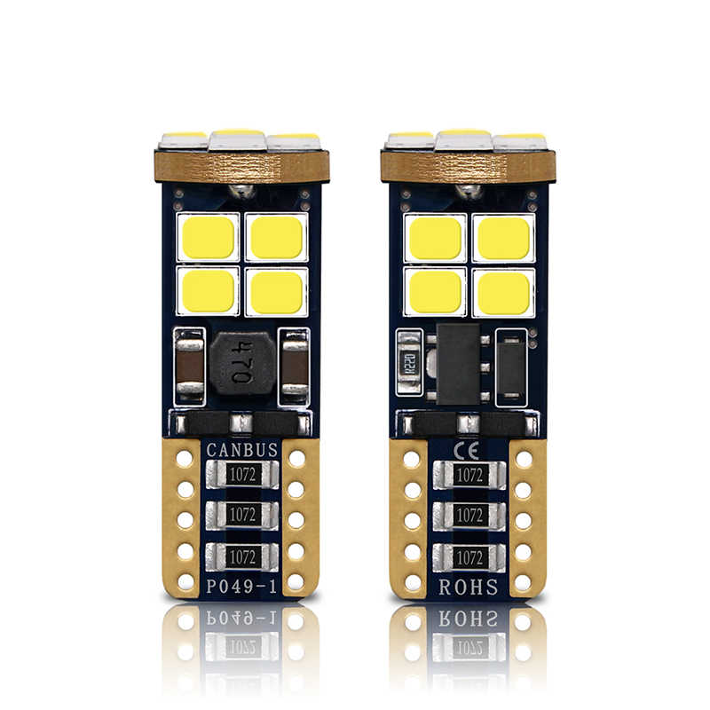 2PCS Car LED T10 Canbus W5W 194 Light Bulbs 12V 3030 12 SMD White Auto License Plate Lights Parking Trunk Clearance Lamp Bulb