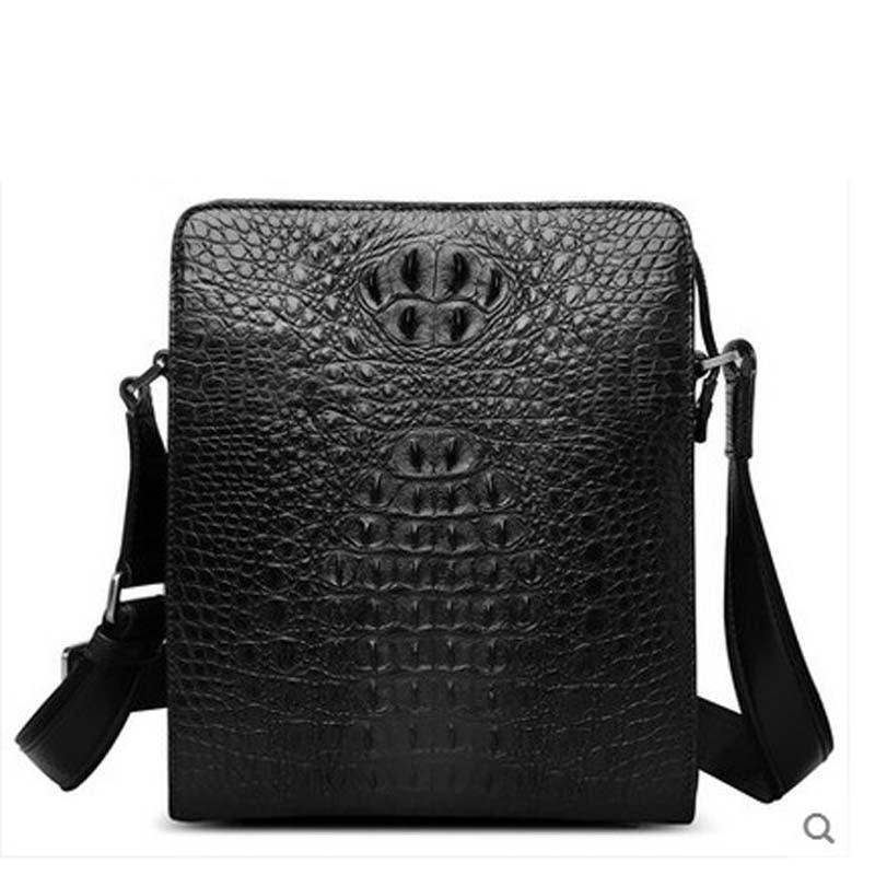 hlt Crocodile skin single shoulder bag mens bag fashionable casual slanting bag of genuine leather bags with genuine leather ba