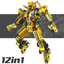 YETAA Legofigure Hook Truck Agitator Crane Mech Armor Bricks Toys Gifts Blocks Toys for Children 12in1 Minecraft Building Blocks