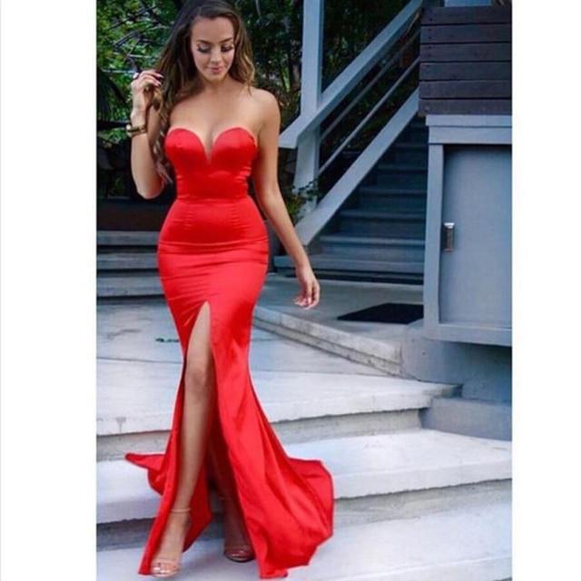 9569ec58c Vestidos Vestidos Cortos De Gala novia sin mangas rojo De la sirena Vestidos  De baile alta