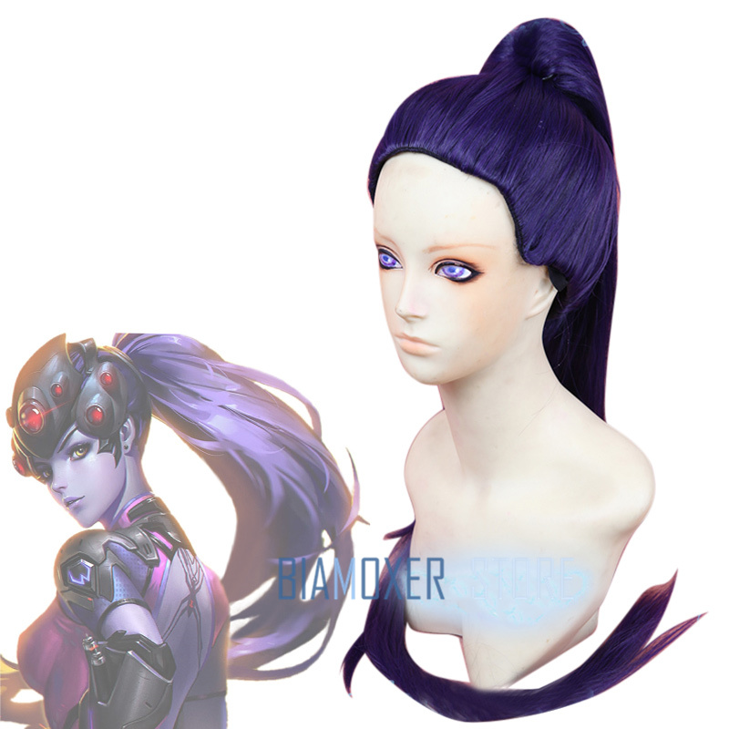 Biamoxer 100cm Game OW Widowmaker / Amelie Lacroix Long Dark Purple With Clip Ponytail Heat Resistent Cosplay Costumes Wig