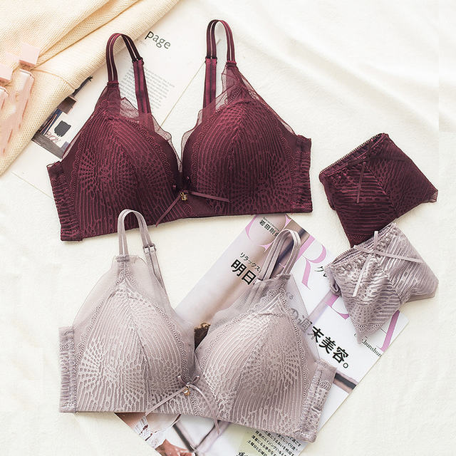 9f78b47c1f692 Roseheart Women Fashion Green Lavender Lace Bra Sets Bralette Mesh Panties  Wireless Underwear Sexy Lingerie Sets A B Japanese