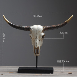 European Retro Cow Skull Vintage Horn Home Decoration Accessories Modern for Living Room Dinosaur Party Antique Home Decor