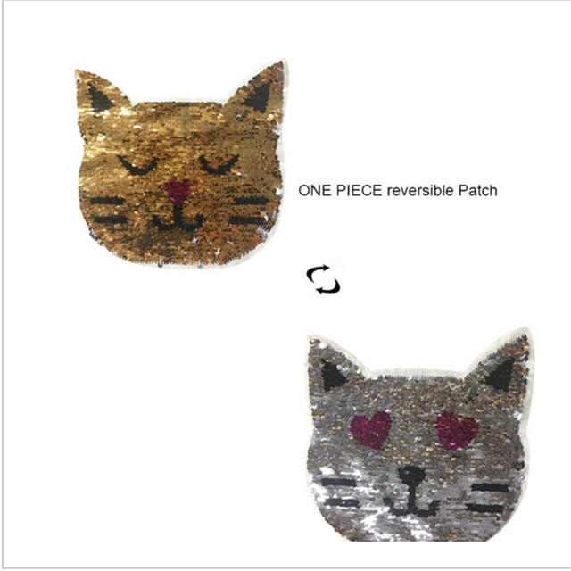 0a350e58b5a New Cute Cat Reversible Change color Sequins Sew On Patches for clothes DIY  Patch Applique Bag Clothing Coat Jeans Craft 990116