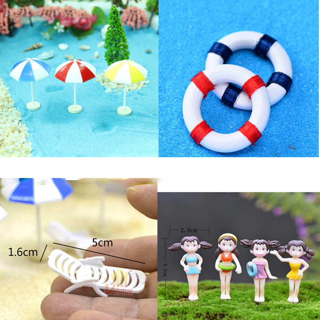 2018 New Mini Artificial Beach Chair Bench Micro Fairy Garden Figurine Miniature/Terrarium/Doll House Decoration Ornament DIY