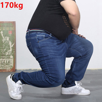 Oversized Jeans Fat 300 Pounds Extra Large Fat PANTS Big Men 160kg Thin Waist Trousers 6XL