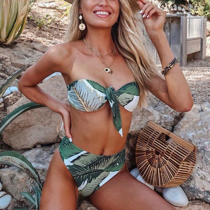 ZTVitality Sexy Biquini Leaf Print Bikini 2019 Hot Sale Backless Strapless Bandage Bikinis High Waist Swimsuit Swimwear Women L