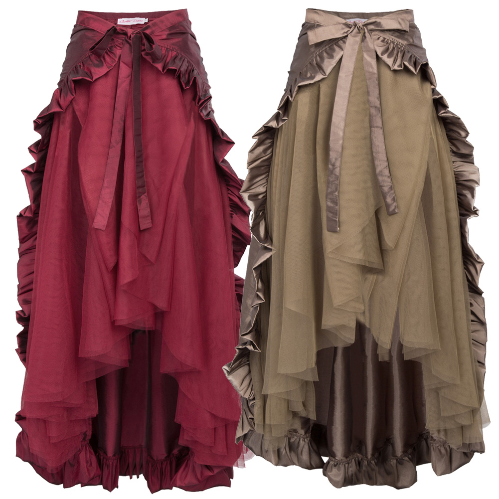Steampunk Gothic Skirt Lace Women Clothing High Low Ruffles Party Skirts Lolita Red Medieval Victorian Lady Punk Skirt