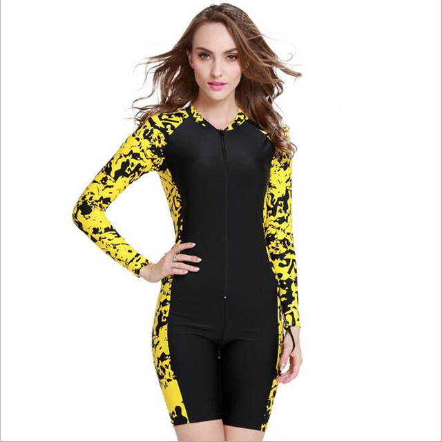 Women s One-piece Long-sleeved Wetsuit Summer UV Protection Swimwear  Snorkeling Clothes Diving Suits 46a614edd