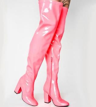 Carpaton Newest Thick Heels Over the Knee Boots Candy Colors Patent Leather Woman Long boots Runway Sexy Thigh High Boots