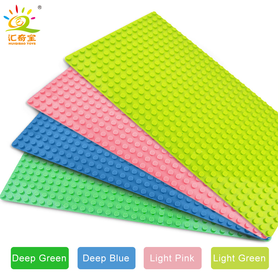 2Pcs/set 32*16 dots Big Blocks Base Plate 51*25.5 cm DIY Baseplate Building Blocks Compatible Legoed Duploe Toys For Children smartable base plate for small bricks baseplates 50 50 dots diy building blocks compatible legoing toys christmas gift 2pcs lot