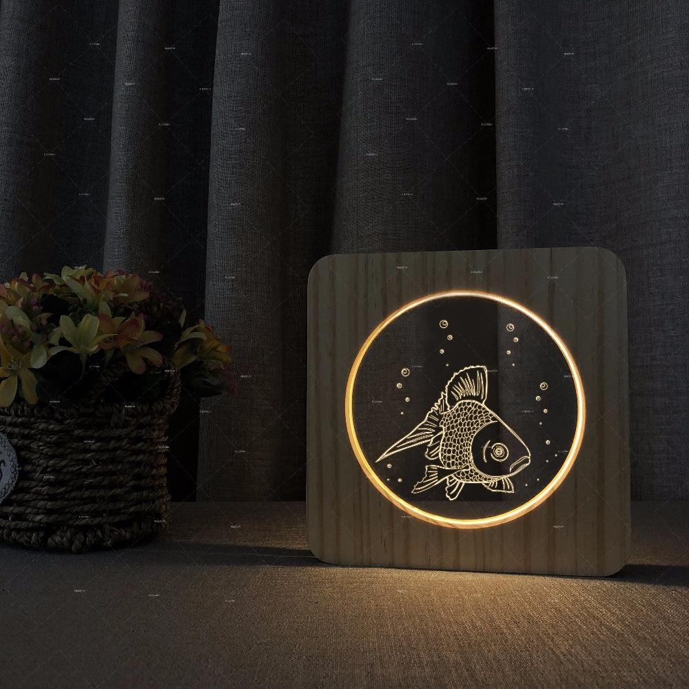 The goldfish design Wooden acrylic lights desk lamp decor lighting desk lamp led free shipping for bedroom table lamp