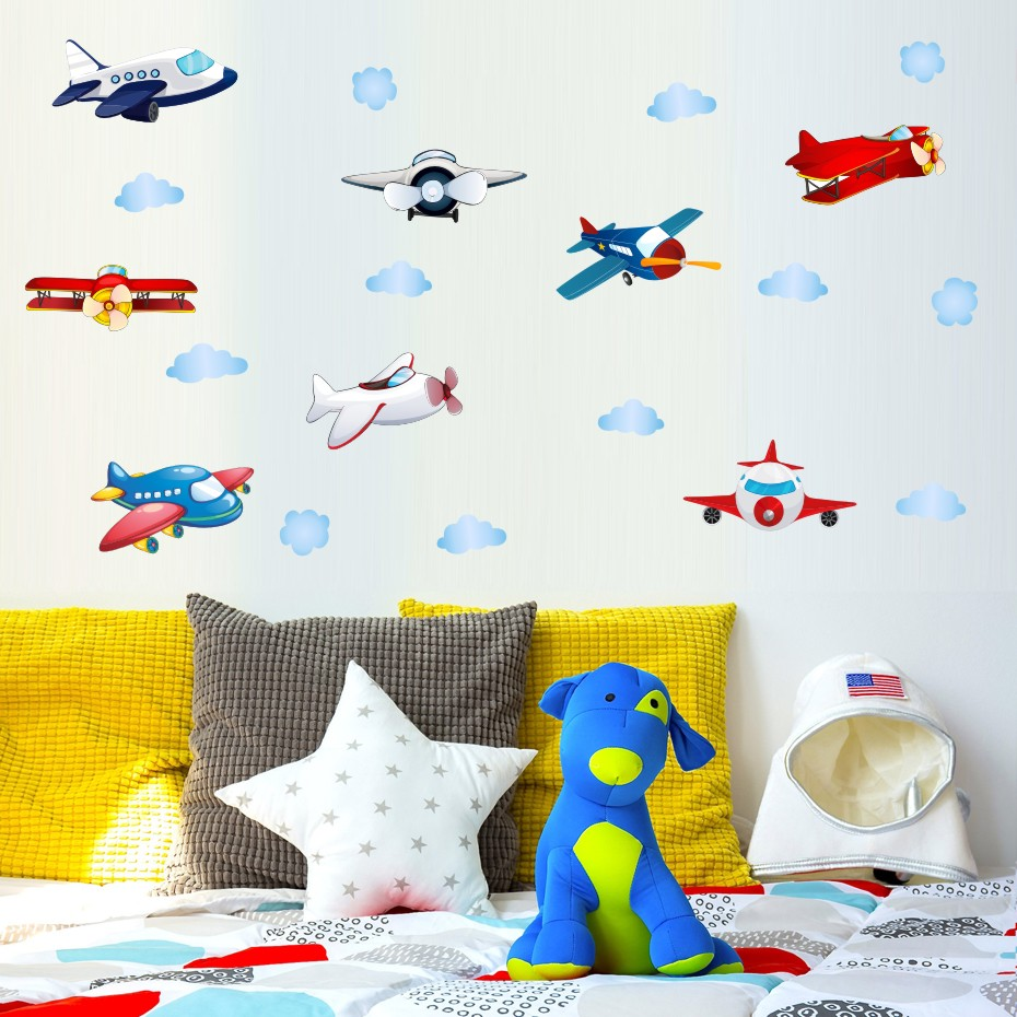 Could Stars Plane Rocket Cartoon Wall Art Decal For Kid Nursery Bedroom Home Decor Vinyl Wall Sticker Removable Modern Wallpaper (1)