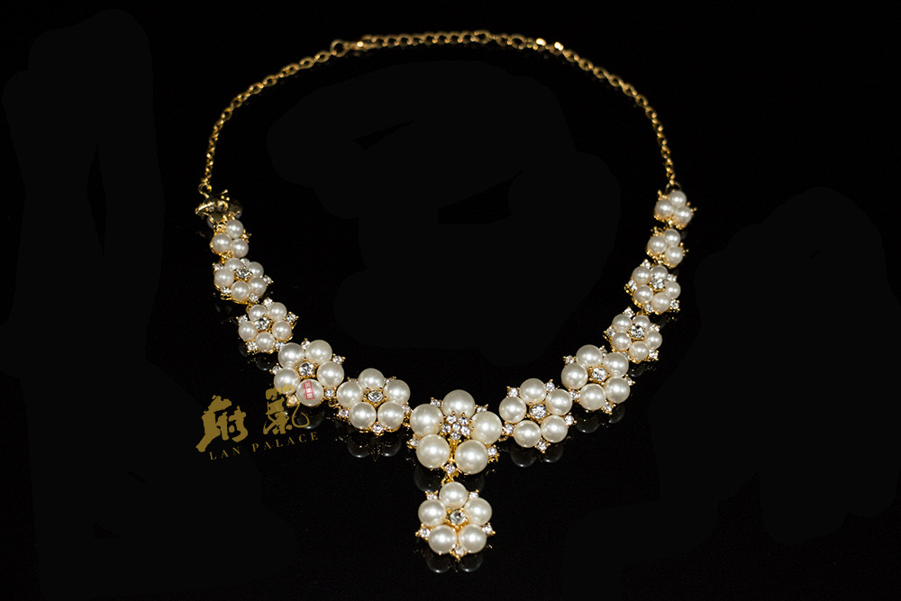 Trendy Indian Jewellery Wedding Party Accessories Gold Color Bridal Necklace Earrings Pearl Jewelry Set For Brides