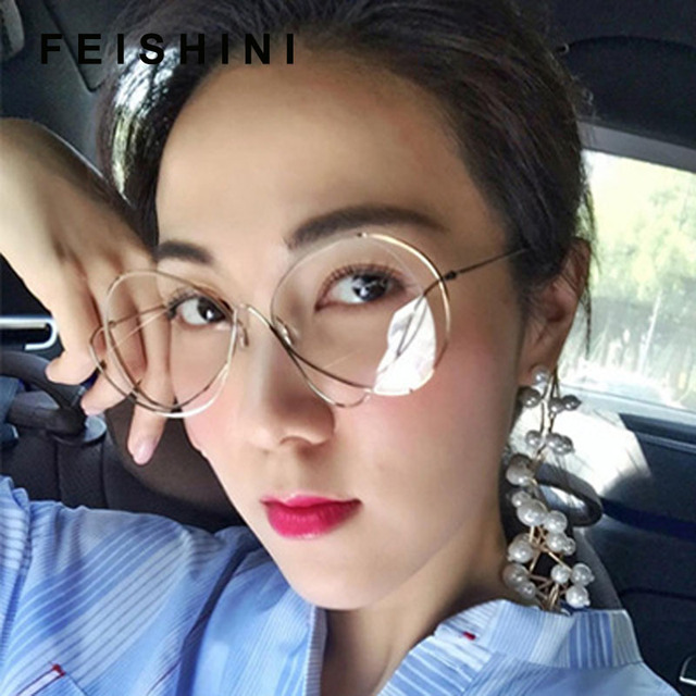 3e042dea08 FEISHINI Brand Metal Sexy Oval Ladies Sunglasses UV Protector Gradient  Summer Sea 2019 Trendy Eye Glasses