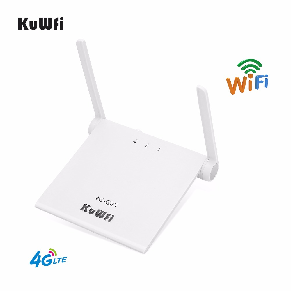KuWFi 4g LTE Wifi Routeur 150 Mbps 4g Intérieur WiFi Routeur Avec Sim Card Slot Soutien LTE FDD b1/B3 Chargeur Par USB Avec Deux Antenne