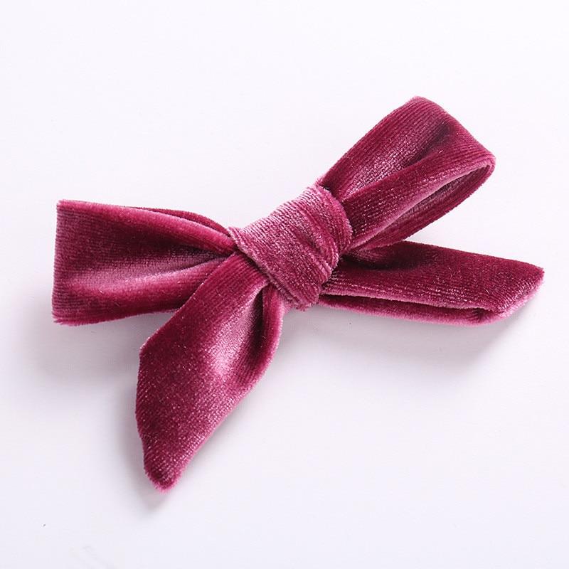 Детская заколка для волос высокого качества для девочек, популярная детская заколка для волос, 1 шт., корейский бант, аксессуары для волос, бархатная заколка - Цвет: 12