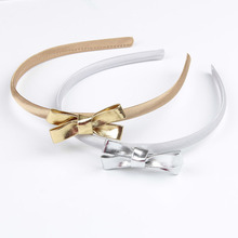 2pcs/lot Simple Design Gold/Silver Leather Bows Headband Hair Bands For Girls Women Headwear Hair Accessories Cute Gift For Baby