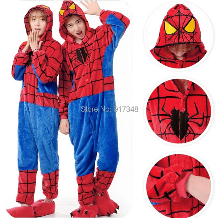 9f56d784f197 Superhero Spiderman Spider-man Onesies Pajamas Jumpsuit Hoodies Adults  Cosplay Costume With Zipper for Halloween and Carnival