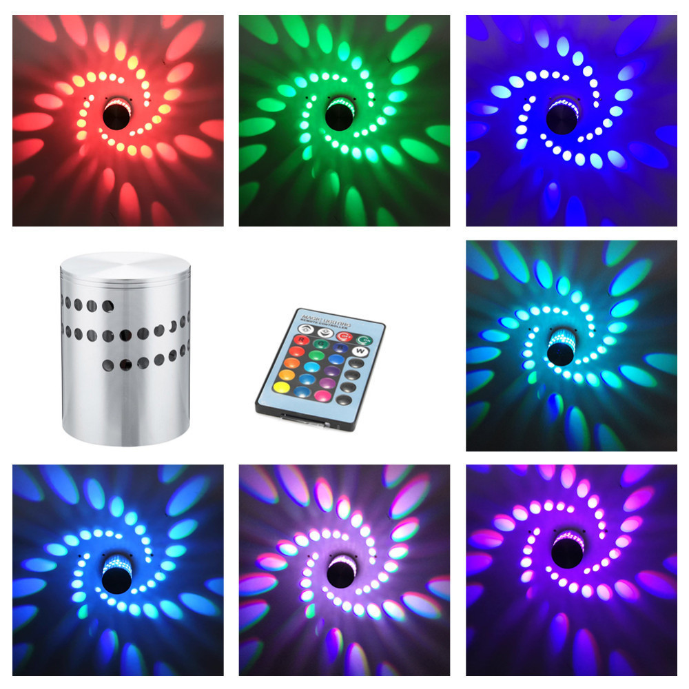 RGB Spiral Hole LED Wall Lamp 3W RGB Spiral Hole LED Wall Light Colorful Wand Lamp For Party Bar Lobby KTV Home Decoration