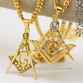 Gold plated BLING FREE MASON PENDANT 70cm Long chain High Quality Fashion Star Hiphop zircon statement necklace men jewelry