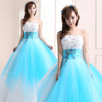 Pretty Beading Crystal Strapless Ball Gown Prom debutante gowns Hot Blue quinceanera dresses
