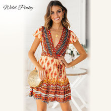 WildPinky Womens Fit Print V-Neck Bohemia Dress Holiday Summer Floral Short Sleeve Party Mini BOHO Vestido