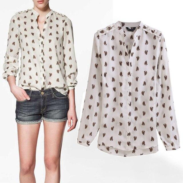 6789fc70be3dbf 2013 Women's Fashion Blouse,Long sleeve Chiffon Shirt Horse Head Printing  Elegant Casual Slim Brand