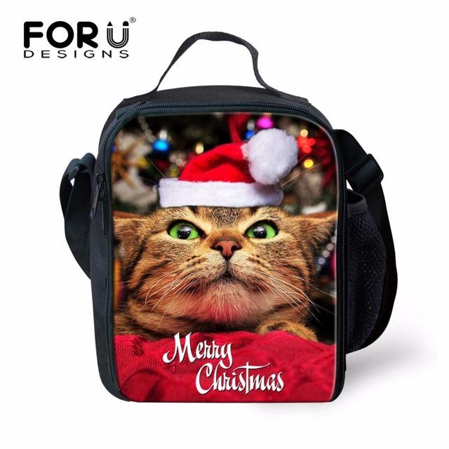 FORUDESIGNS Niños Elegante Gato Perro Aislados bolsa de Almuerzo para Los Niños Niñas Animal Diseño de la Navidad Bolsa de almuerzo Escolar Caja de Messi de Picnic
