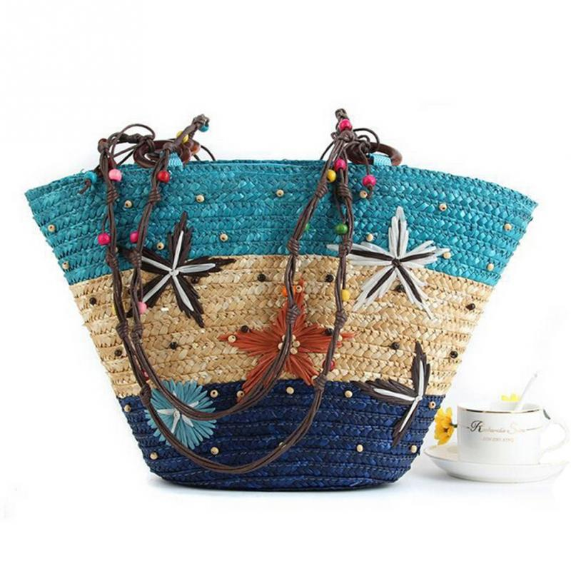 Hawaii Style summer beach bag Handmade starfish print straw shoulder bag fashion women beach bag holiday handbag поло print bar flower hawaii