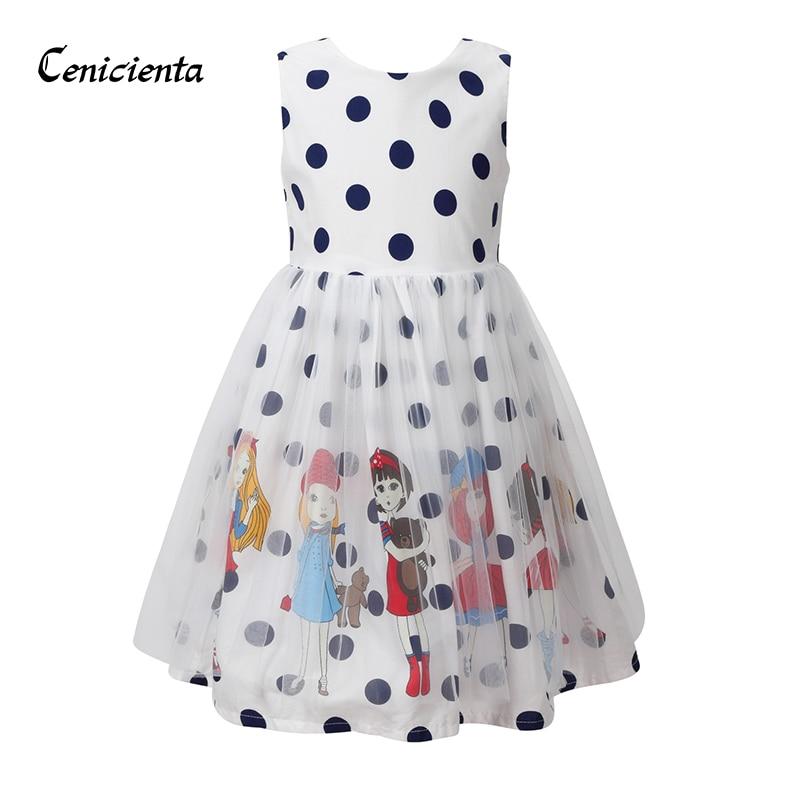 Cenicienta Princess Dress for Girls Miraculous Ladybug Dot Cartoon Print Big Bow Mesh Summer Baby Girl Clothes White Girl Dress girls cartoon print dress