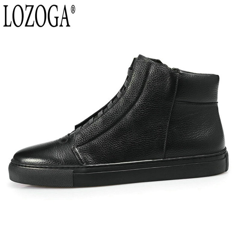 LOZOGA Black Shoes Men Boots 100% Genuine Leather Autumn/Winter Fashion Brand Boots Ankle Handmade Italy Style Zipper Boots Mens